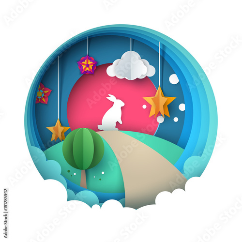Keuken foto achterwand Wit Cartoon paper landscape. Rabbit illustration. Vector eps 10