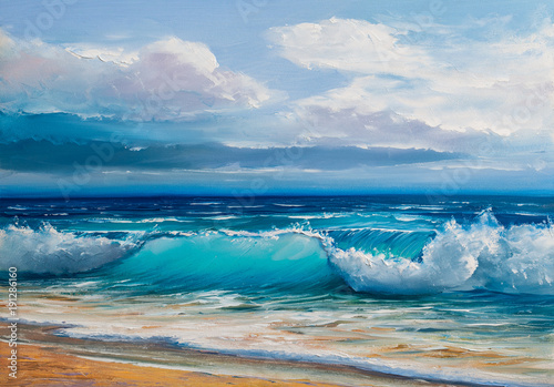 Oil  painting of the sea on canvas. - 191286160