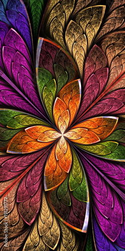 Beautiful fractal flower or butterfly in stained glass window style. You can use it for invitations, notebook covers, phone case, postcards, cards, wallpapers and so on. - 191291777