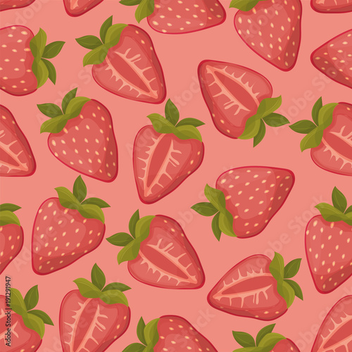 Strawberries seamless vector pattern with pink background - 191291947