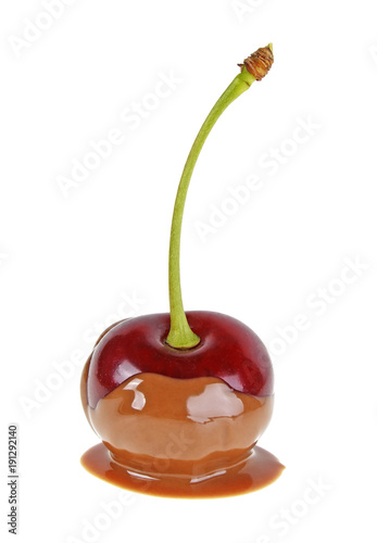 Foto op Canvas Chocolade Cherry in hot chocolate on white background
