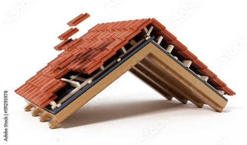 Roof construction detail isolated on white background. 3D illustration