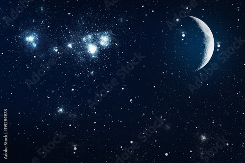 Fotobehang Nasa background night sky with stars and moon. Elements of this image furnished by NASA