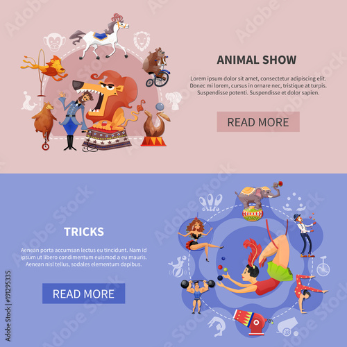 Circus Cartoon Colored Banner Set