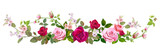 Panoramic view: bouquet of roses, spring blossom. Horizontal border: red, mauve, pink flowers, buds, green leaves on white background. Digital draw illustration in watercolor style, vintage, vector - 191302744