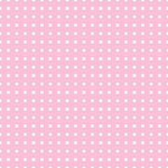 Seamless pattern vector with white polka dots on pink color background For desktop wallpaper, web design, cards, invitations, wedding or baby shower albums, backgrounds, arts and scrapbooks