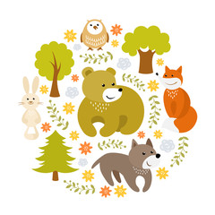 Cute cartoon forest animals vector illustration