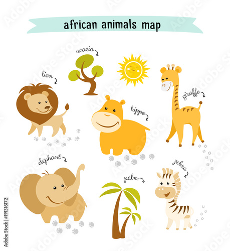 African animals vector map with trees and animal footprints