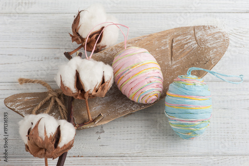 Pink blue paper easter eggs, cotton