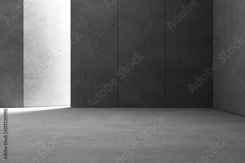 Leinwandbild Motiv Abstract interior design of modern showroom with empty gray concrete floor and dark wall background - Hall or stage 3d illustration
