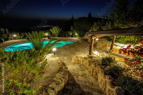 Foto op Aluminium Cyprus Private swimming pool at night