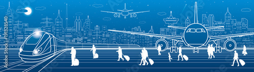 Fotobehang Abstractie Airport panorama. Passengers go to the train. Aviation travel transportation infrastructure. The plane is on the runway. Night city on background, vector design art