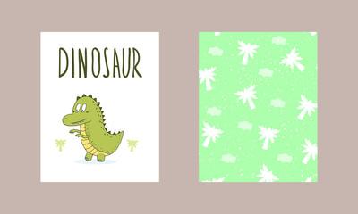 Cute hand drawn card with dinosaur. Printable template