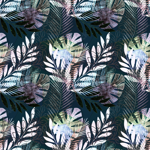 Seamless vivid tropical pattern. Colorful palm leaves on a black background.