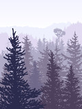Vertical illustration of violet coniferous forest.