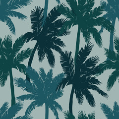 Watercolor exotic seamless pattern, green tropical palm trees, vector illustration.