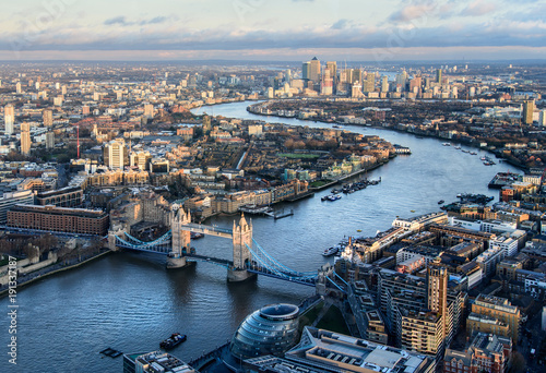 Fotobehang London Arial view of London with the River Thames and Tower Bridge at sunset