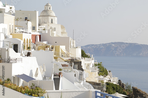 Fotobehang Santorini View of the town of Fira in Santorini island, Greece