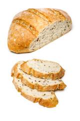 Fresh homemade bread slice isolated on white background