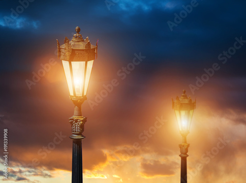 Ancient street lamps close up