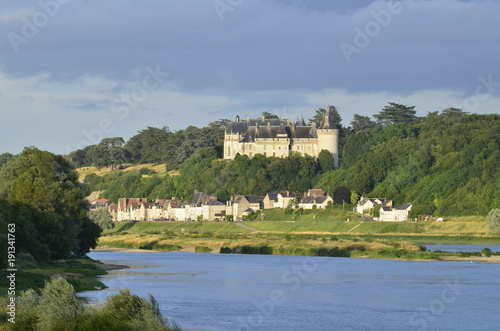 Foto op Canvas Pistache The castle of Chaumont sur Loire 29 June 2017 20:16 Loire Valley, France. Photo taken from the opposite bank of the river Loire by placing itself on the right of the castle.