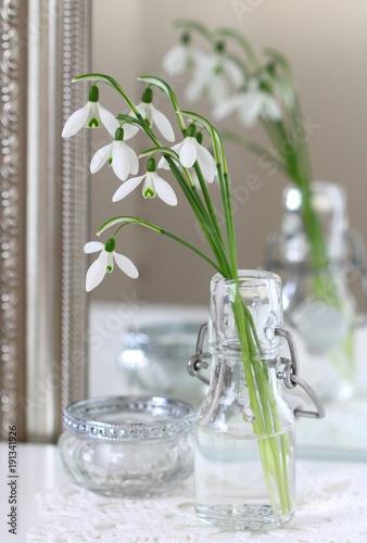 Fototapeta Schneeglöckchen in der Glasflasche