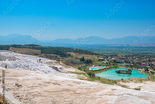 Foto Murales Panoramic view of Pammukale near modern city Denizli, Turkey. One of famous tourists place in Turkey.