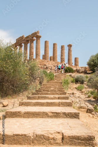 Temple of Hera with staircase. Valle dei Templi - Temples Valley, Agrigento, Italy.