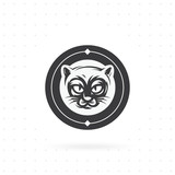 Cat icon with circle. Black cat face logo - vector illustration, emblem design. Icon and label vector template