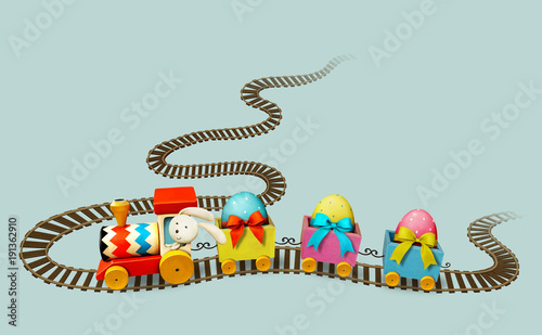 Isolated from background Easter Train on  railroad and Easter Eggs.