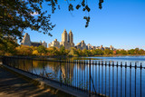 Central Park Reservoir and Upper West Side buildings in Fall. Central Park West, Manhattan, New York City - 191363944