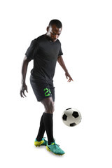 African American Soccer Player Controlling Ball