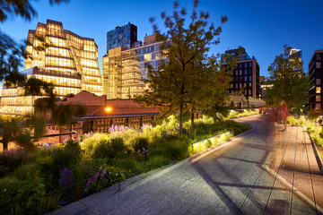 Evening light on the Highline in Chelsea. Twilight in the heart of Manhattan. New York City