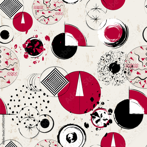 Fotobehang Abstract met Penseelstreken seamless geometric pattern background, retro/vintage style, with circles, strokes and splashes