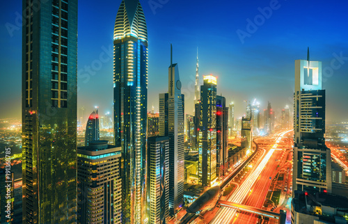 Foto op Canvas Texas Amazing Dubai downtown skyscrapers and Sheikh Zayed road, United Arab Emirates