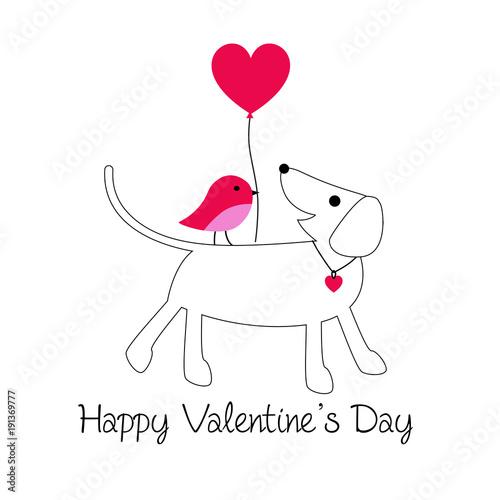 ute dog and bird valentine with balloon