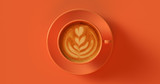 Fototapety Orange Coffee Cup Cappuccino 3d illustration