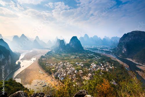 Keuken foto achterwand Guilin Landscape Mountain View of Guilin; Li River.Yangshuo County; Guilin City; Province; China.