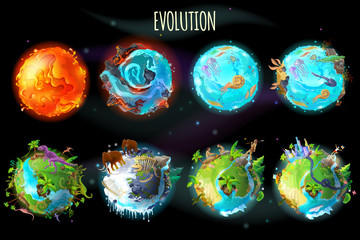 Vector cartoon fantastic planet Earth, world evolution set. Cosmic, space element game, timeline infographic design. Illustration from burning lava, water period, ice Age to green tropical plant river