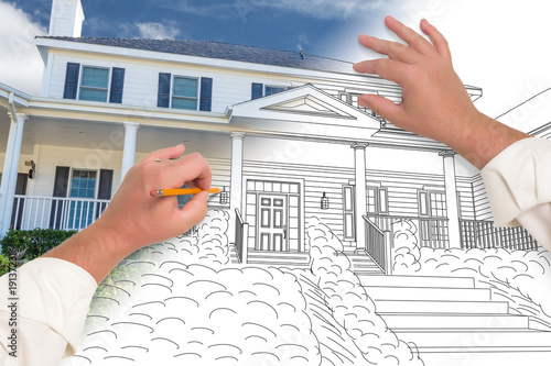 Male Hands Sketching with Pencil the Outline of a House with Photo Showing Through.