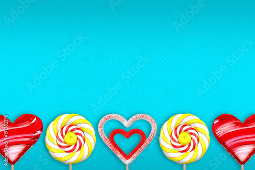 Turquoise background with various lollipops. 3d illustration. - 191382190