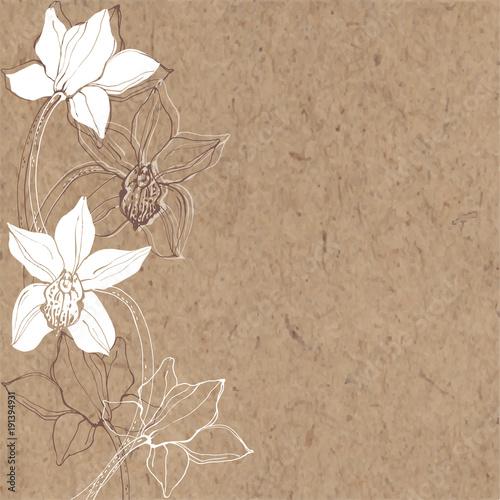 Kwiatowy wzór z orchidei. Czarno-biały ilustracja wektorowa. Sylwetki.
