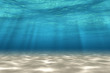 Abstract under sea background, white sand with sun ray for your design. Digital generating image. 3D illustration.