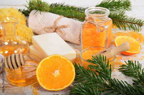 orange-honey natural cosmetic for body care with soap and olive oil for winter home spa