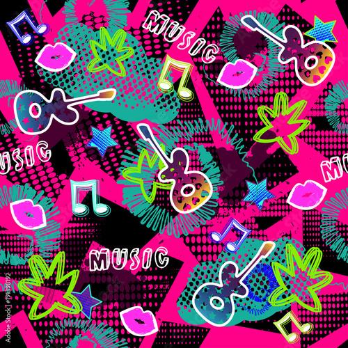 wzor-tapety,-abstrakcja,-gitara,-usta,-kwiaty,-nuty