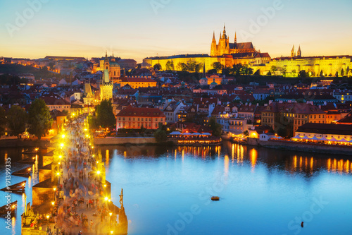 Foto op Aluminium Praag Overview of Prague with St Vitus Cathedral