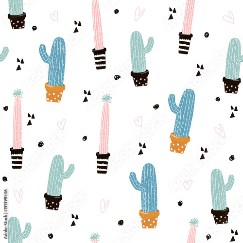 Cute seamless pattern with cactus. Vector hand drawn illustration. - 191399536
