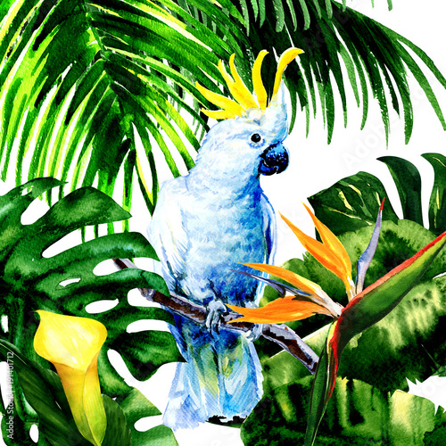 Beautiful white Cockatoo, colorful big parrot in jungle rainforest, exotic flowers and leaves, watercolor illustration