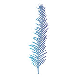 stem with thin leaves on gradient color silhouette from blue to purple vector illustration - 191411174