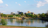 Downtown Midland, Texas on a Sunny Day as Seen Over the Pond at Wadley Barron Park - 191415124